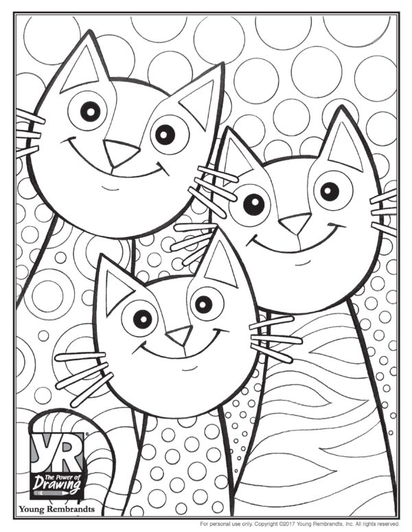 Cat Mother And Little Cat Coloring Pages | Kittens coloring, Cat ... | 774x600