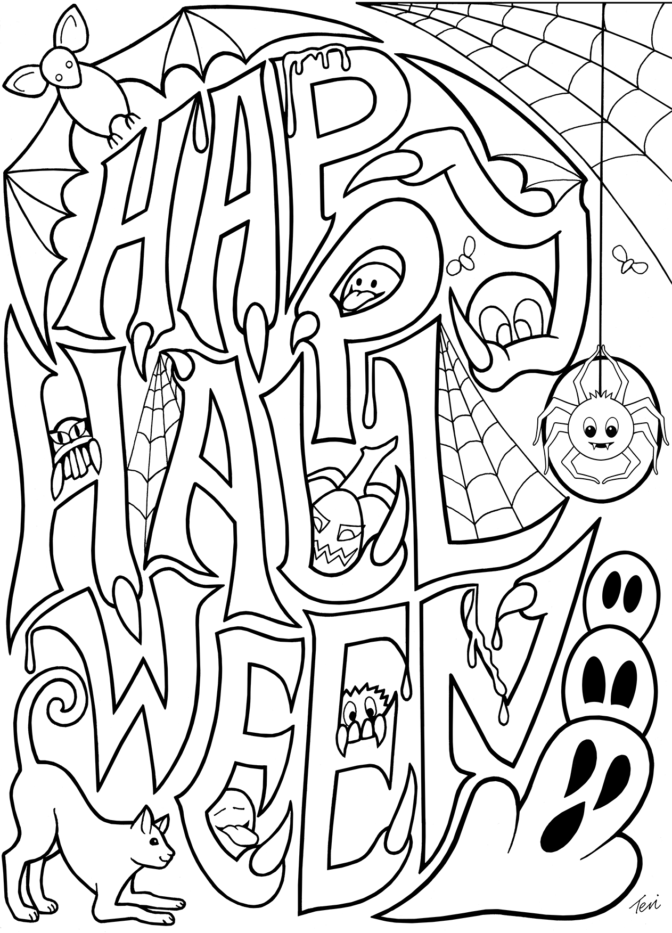Adult Halloween Coloring Pages Collection - Whitesbelfast