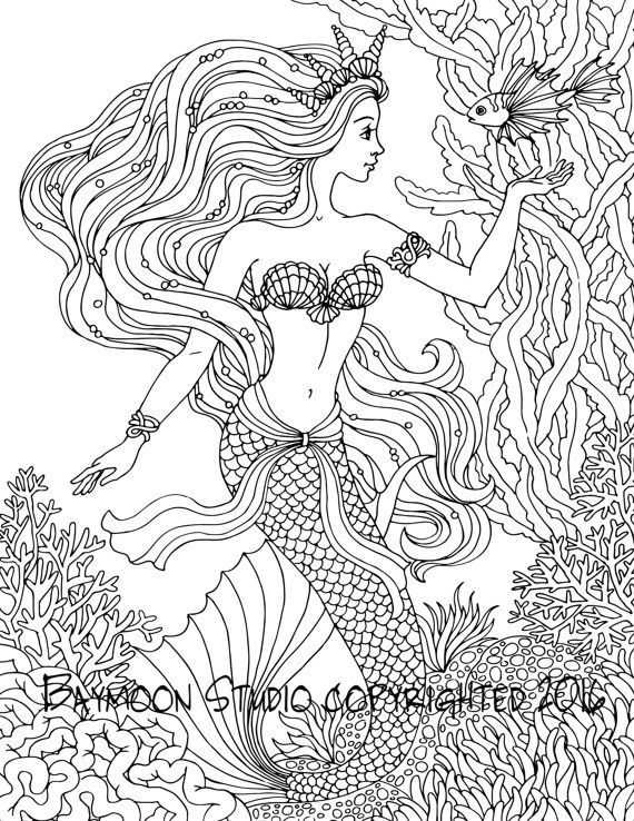 Mermaid Coloring Pages for Adults - Best Coloring Pages For Kids | 738x570