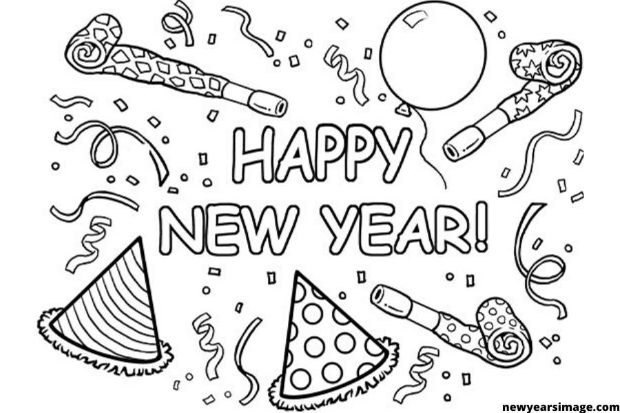 New Year Coloring Pages Picture Whitesbelfast Com