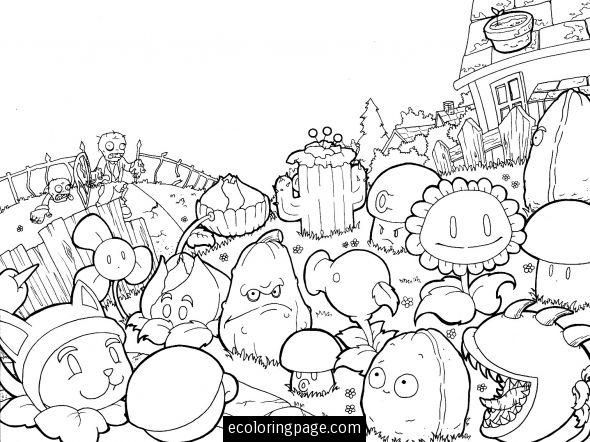 Plants Vs Zombies Coloring Pages. All parts: 1, 2, 3 | 442x590