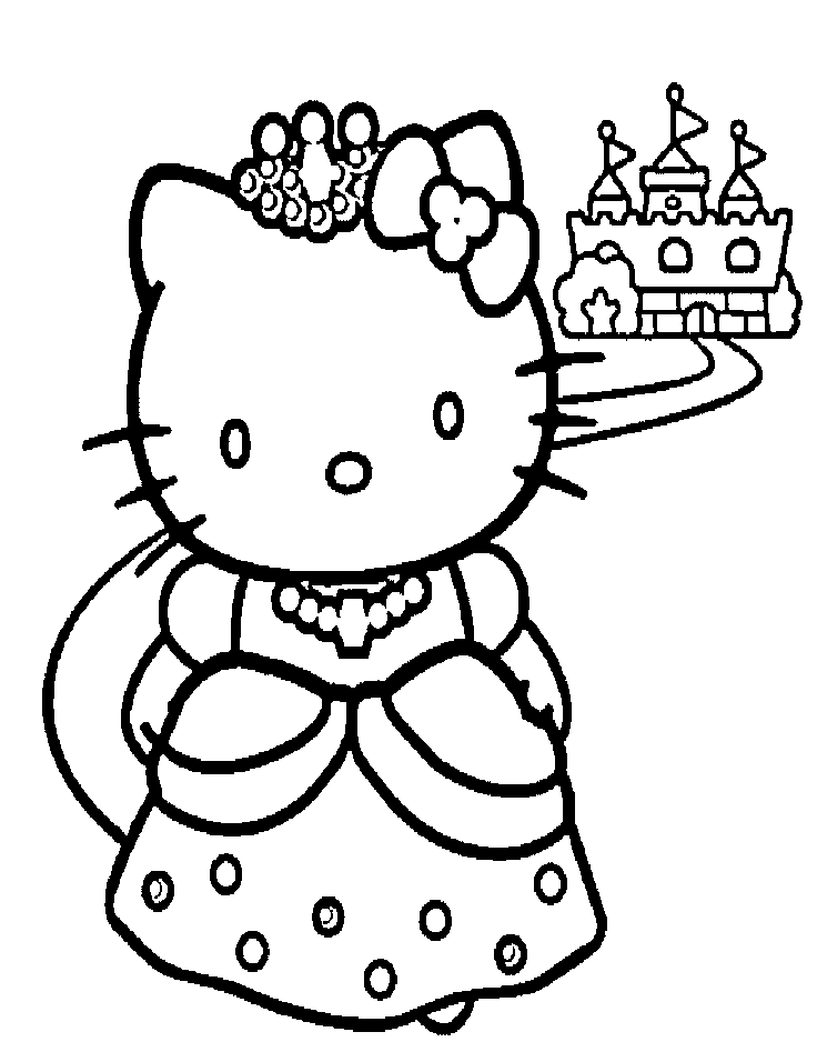 This is a picture of Hello Kitty Coloring Pages Free Printable throughout ballerina